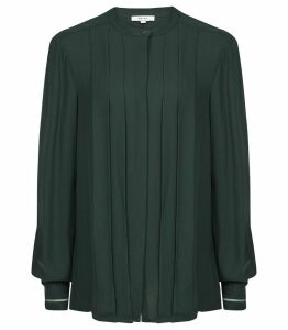 Reiss Nicole - Pleat Front Blouse in Dark Green, Womens, Size 14