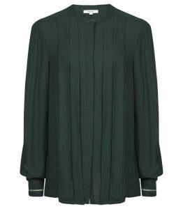 Reiss Nicole - Pleat Front Blouse in Dark Green, Womens, Size 14