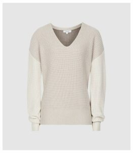 Reiss Audrey - V-neck Ribbed Jumper in Neutral/white, Womens, Size XXL