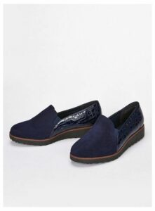Extra Wide Fit Navy Blue Slip On Loafers, Navy