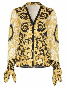Versace V-neck Baroque-print blouse - Black