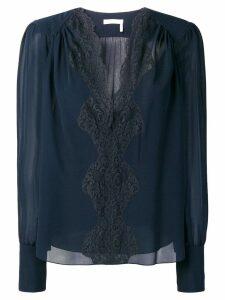 Chloé lace panel blouse - Blue
