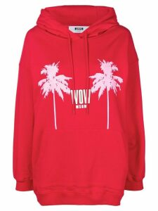 MSGM logo palm print hoodie - Red