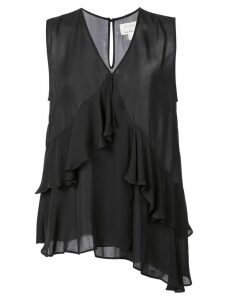 Nicole Miller ruffled V-neck blouse - Black