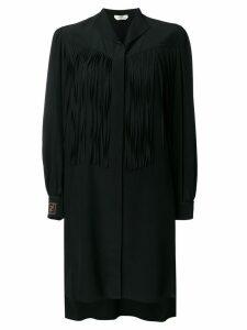 Fendi fringe detail silk shirt dress - Black