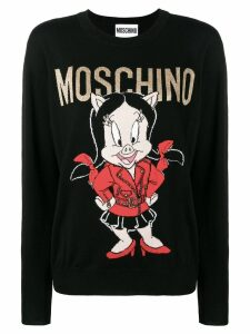 Moschino intarsia logo sweater - Black