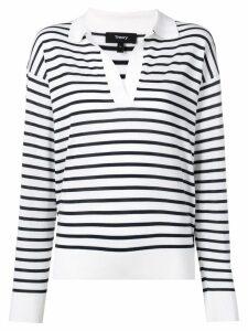 Theory striped V-neck jumper - White