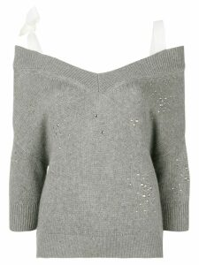 Red Valentino off-the-shoulder studded jumper - Grey
