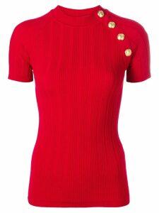 Balmain ribbed knitted T-shirt - Red