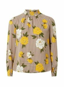 Womens Petite Multicoloured Shirred Neck Floral Print Top- Yellow, Yellow