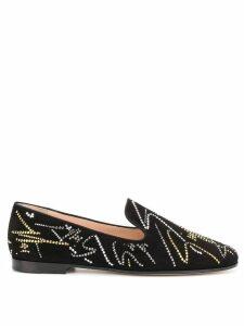 Giuseppe Zanotti embellished logo loafers - Black