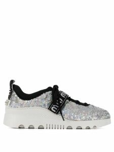 Miu Miu sequin logo sneakers - SILVER