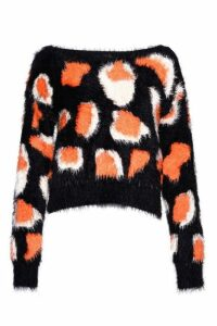 Womens **Leopard Fluffy Jumper By Glamorous - Multi, Multi