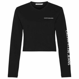 Calvin Klein Jeans Long Sleeve Crop Institutional T Shirt - Black