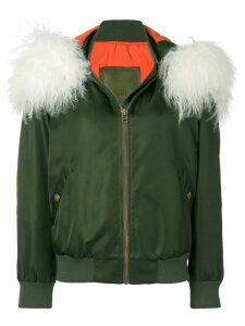 Mr & Mrs Italy customisable bomber with fur collar - Green