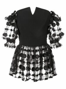 Christian Siriano embroidered floral blouse - Black