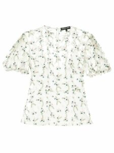 Markus Lupfer floral embroidered sheer top - White
