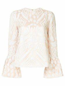 Huishan Zhang geometric pattern blouse - NEUTRALS