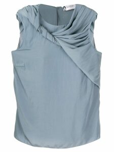 LANVIN twirled drape sleeveless blouse - Blue