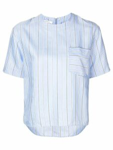 Cédric Charlier striped short-sleeve blouse - Blue