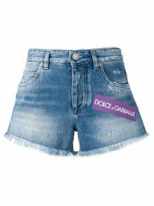 Dolce & Gabbana faded denim logo shorts - Blue