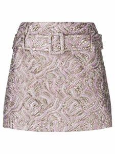 Prada belted jacquard mini skirt - PINK