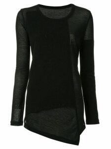 Y's asymmetric T-shirt - Black