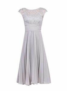 Womens Jolie Moi Silver Grey Lace Dress, Silver