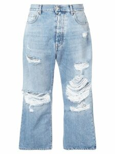 UNRAVEL PROJECT ripped detailed cropped jeans - Blue