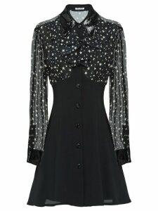 Miu Miu Sablé and georgette dress - Black