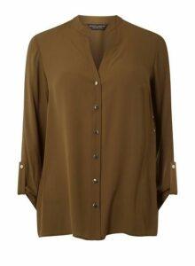 Womens Khaki Collarless Shirt- Khaki, Khaki