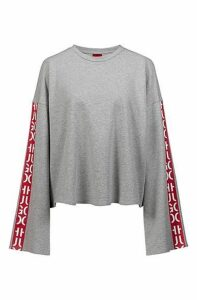 Relaxed-fit cropped sweatshirt with abstract-logo tape