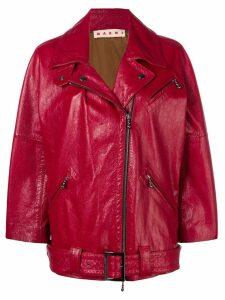 Marni zipped biker jacket - Red