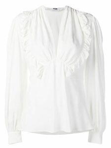 MSGM v-neck ruffle detail blouse - White