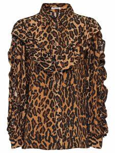 Miu Miu Printed marocain crepe blouse - Brown