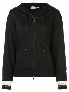 Moncler zip front logo hoodie - Black