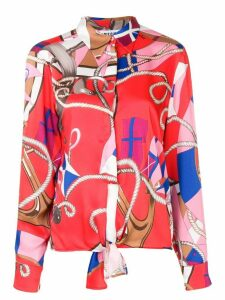 MSGM knot detail nautical print shirt - Red