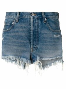 Off-White frayed jean shorts - Blue