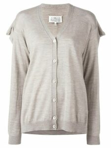 Maison Margiela draped back knit cardigan - Neutrals