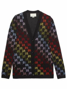 Gucci Wool cardigan with GG rhinestone motif - Black