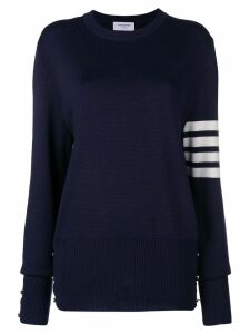Thom Browne 4-Bar Milano Stitch Silk Pullover - Blue