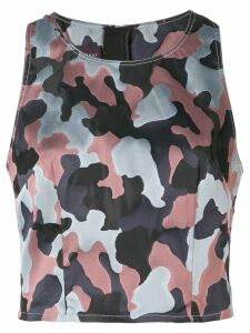 Talbot Runhof sleeveless camouflage print top - PINK