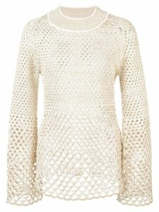 Proenza Schouler Lurex Open Stitch Mockneck Top - Metallic
