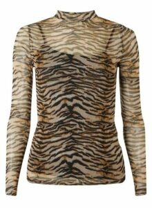 Womens Tiger Print Mesh High Neck Top - Multi, Multi