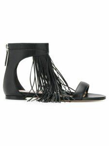 Alexander McQueen fringed flat sandals - Black