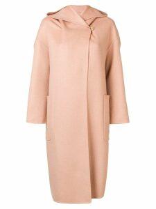 Max Mara hooded shawl collar coat - Neutrals