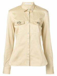 Ermanno Scervino brooch embellished shirt - Yellow
