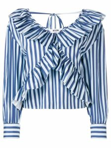 MSGM ruffled V-neck shirt - Blue