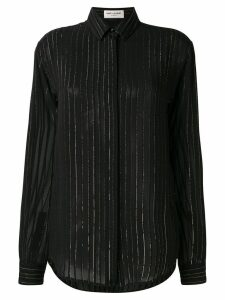Saint Laurent lurex stripe sheer shirt - Black