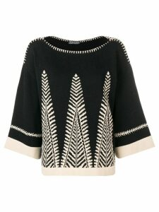 Alberta Ferretti embroidered loose fit sweater - Grey
